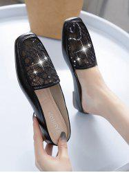 Sequined Mesh Flat Mules Sandals -