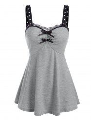 Lace Panel Grommet Bowknot Ruched Tank Top -