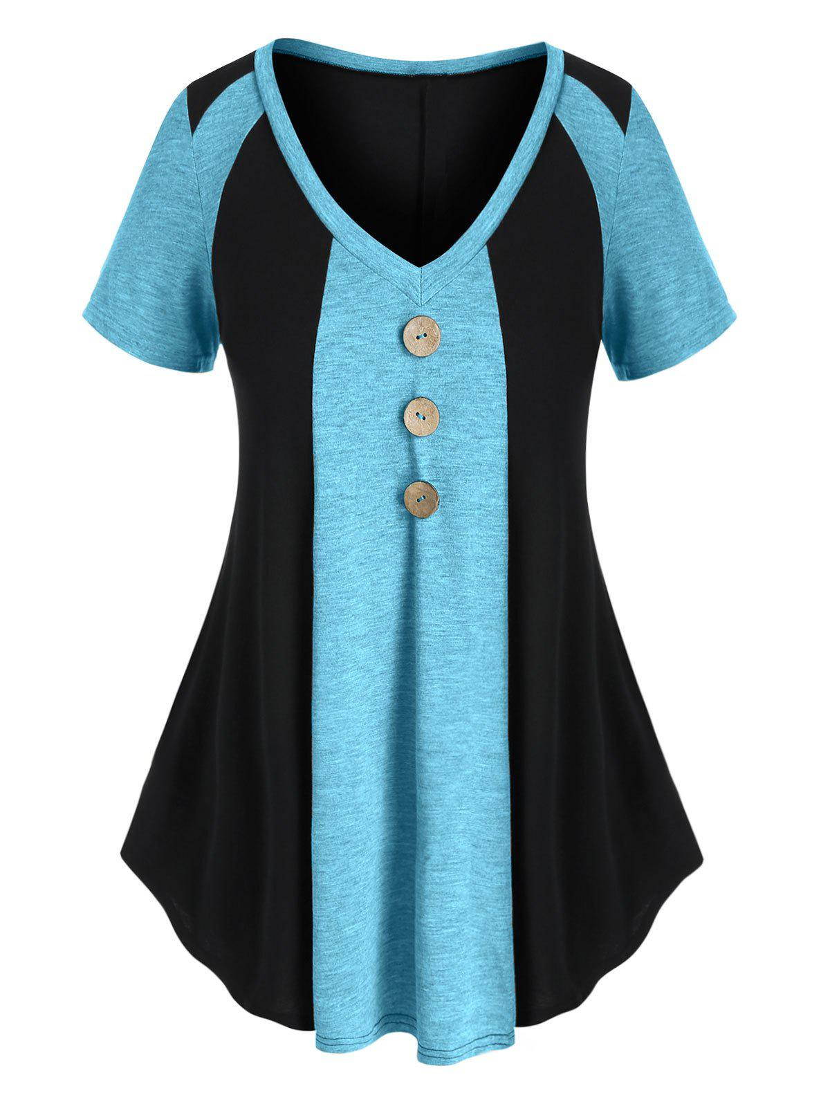 Hot Plus Size Two Tone Buttons T Shirt