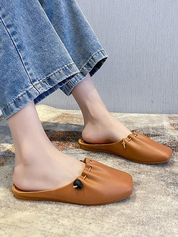 Store Casual Drawstring Square Toe Mules Sandals