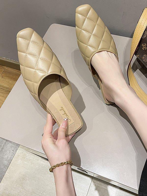 Affordable Rhombic Quilted Flat Mules Sandals