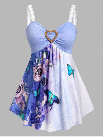 Plus Size Butterfly Flower Skirted Backless Tank Top - PURPLE - 2X