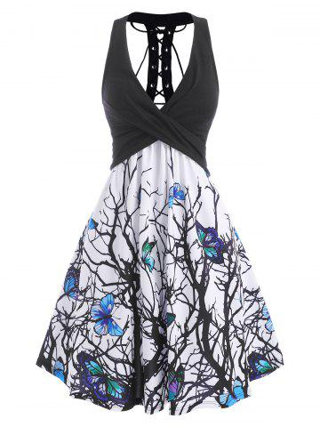 Branch Butterfly Print Plunging Lace Up Dress - BLACK - XXL