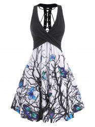 Branch Butterfly Print Plunging Lace Up Dress -