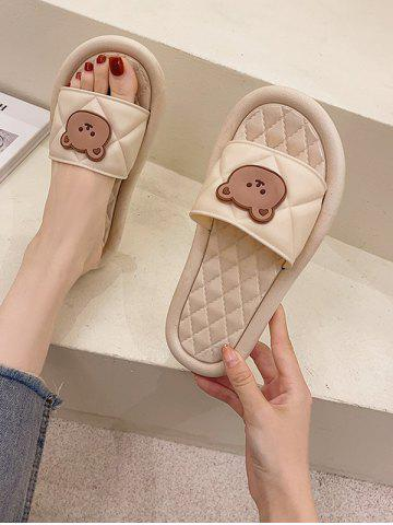 Round Toe Bear Quilted Vamp Slippers - BEIGE - EU (39-40)