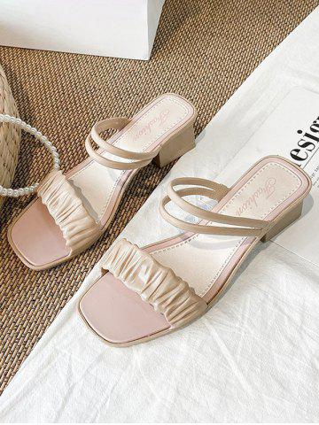 Square Toe Ruched Vamp Convertible Sandals - LIGHT COFFEE - EU 40
