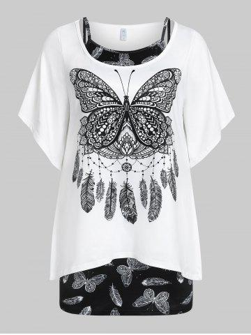 Plus  Size Bell Sleeve Butterfly Print T-shirt and Tank Top Set