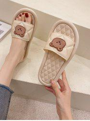 Round Toe Bear Quilted Vamp Slippers -