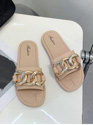 Gold Tone Chain Embellished Slippers -
