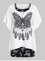 Plus  Size Bell Sleeve Butterfly Print T-shirt and Tank Top Set -