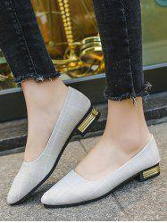 Pointed Toe Plaid Print Low Heel Shoes -