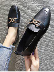 Square Toe Chain Embellished Slip-On Shoes -