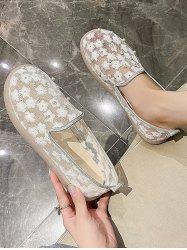Floral Embroidery Faux Pearl Slip-On Shoes -