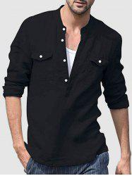 Solid Color Half Button Shirts -