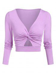Cut Out Twist Front Cropped T-shirt -
