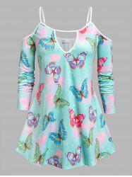 Plus Size Cold Shoulder Butterfly Print Keyhole Tee -