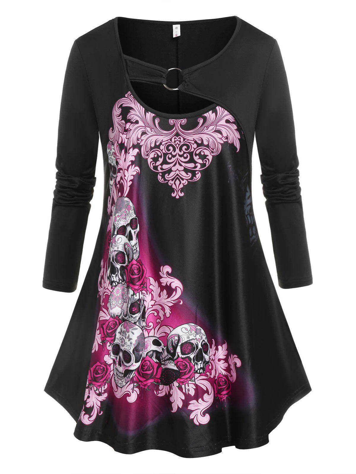Shops Plus Size Skull Flower Ring Cutout Tunic Tee