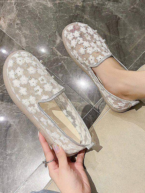 Affordable Floral Embroidery Faux Pearl Slip-On Shoes