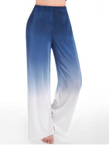 Pleated Ombre Wide Leg Pants - BLUE - ONE SIZE