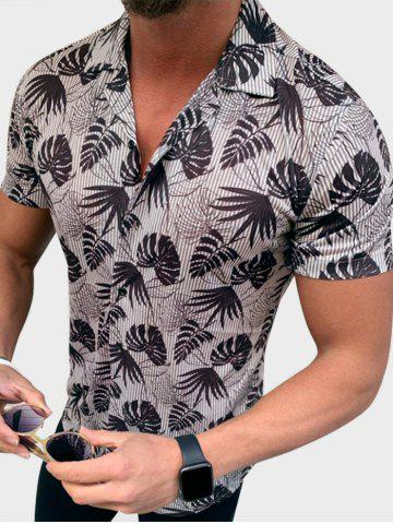 Button Up Tropical Leaves Stripes Print Shirt
