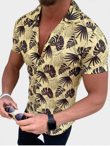 Button Up Tropical Leaves Stripes Print Shirt - YELLOW - XS