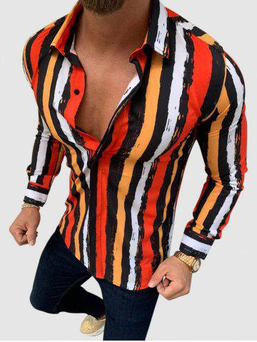Long Sleeve Colorful Striped Print Shirt - RED - XS