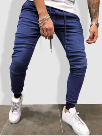 Drawstring Sewing Detail Tapered Jogger Jeans - BLUE - XL
