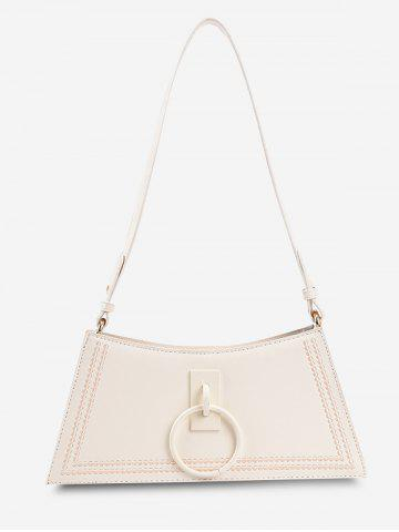 O Ring Embroidery Trapezoid Shoulder Bag - WHITE
