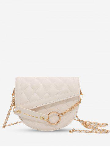 Semicircle Quilted Asymmetrical Cover Chain Crossbody Bag - BEIGE