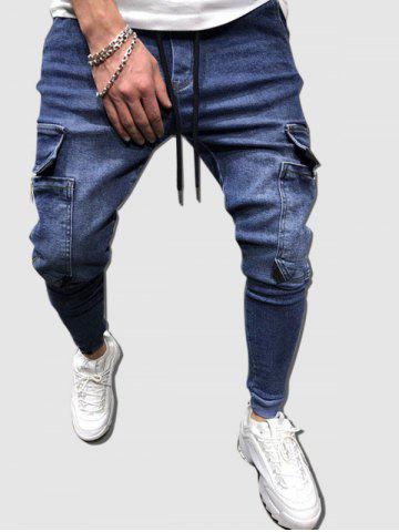 Multi Pockets Tapered Cargo Jeans - BLUE - L
