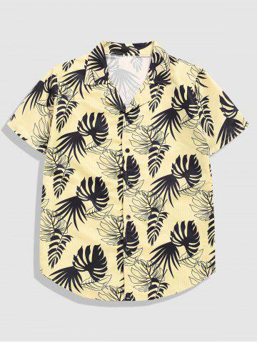 Button Up Tropical Leaves Stripes Print Shirt - YELLOW - L