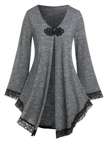 Plus Size Lace Up Chinese Frog Cardigan - DARK GRAY - 4X