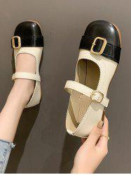 Round Toe Colorblock Faux Leather Shoes -