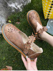 Retro Flower Hollow Out Flat Bar Shoes -
