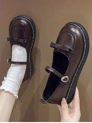 Round Toe Bowknot Faux Leather Shoes -