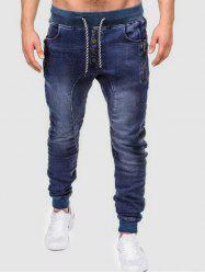 Zippers Snap Buttons Embellishment Jeans -