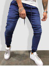 Drawstring Sewing Detail Tapered Jogger Jeans -