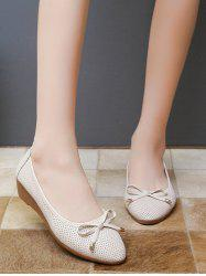 Almond Toe Bowknot Low Wedge Heel Shoes -