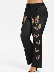 Butterfly Print Plus Size Flare Pants -