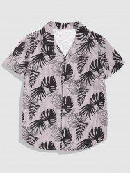Button Up Tropical Leaves Stripes Print Shirt -