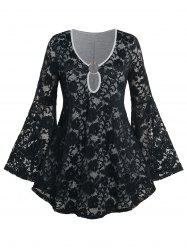 Plus Size Bell Sleeve O Ring Lace T-shirt -