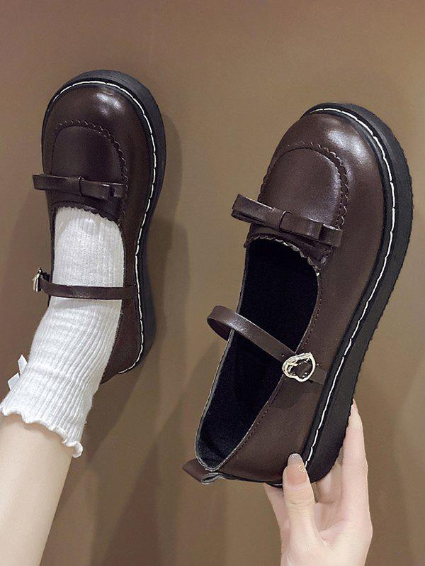 Affordable Round Toe Bowknot Faux Leather Shoes