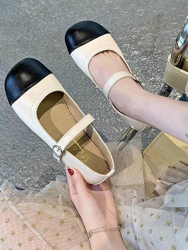 Discount Colorblock Round Toe Faux Leather Shoes