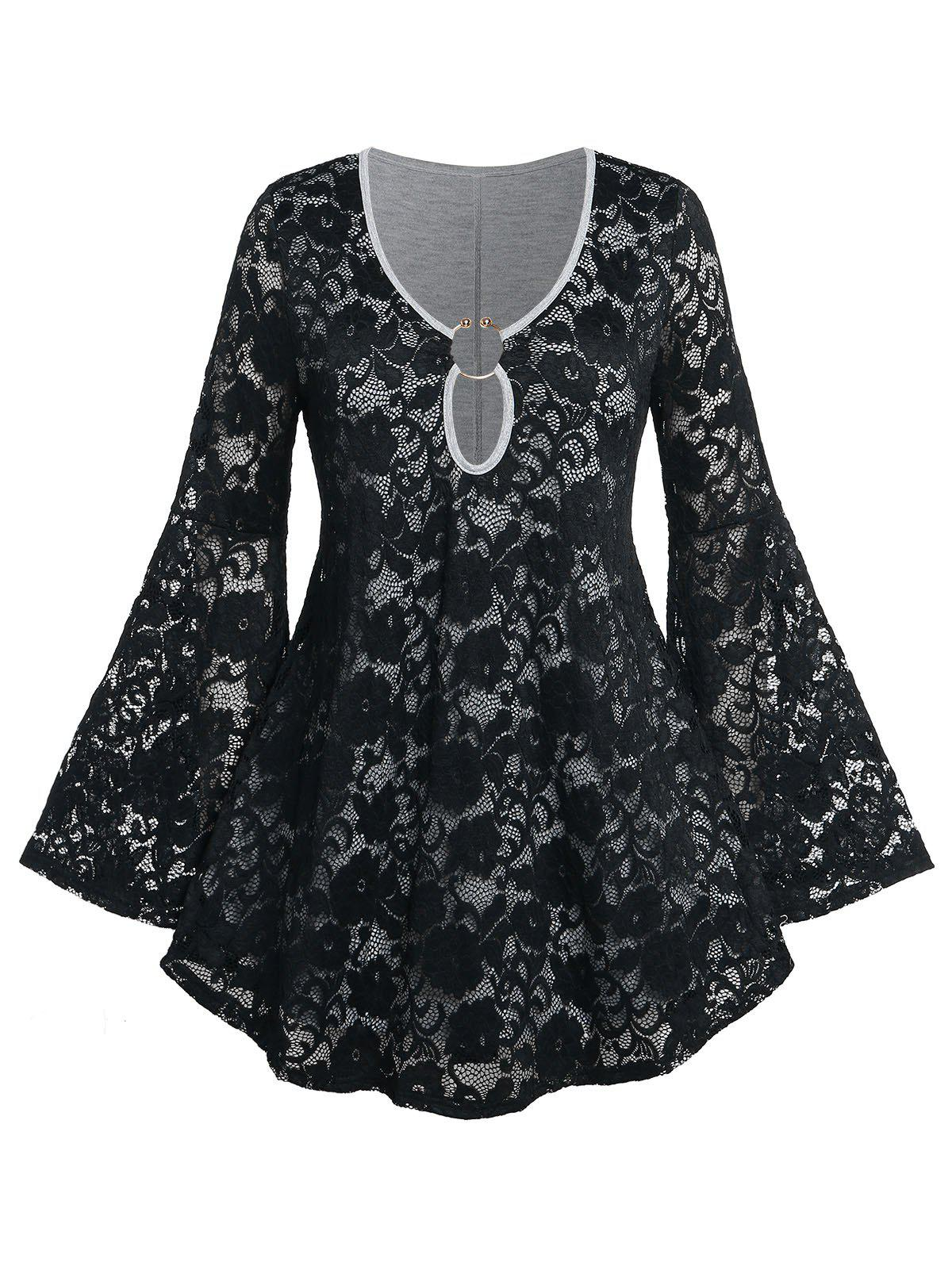 Affordable Plus Size Bell Sleeve O Ring Lace T-shirt