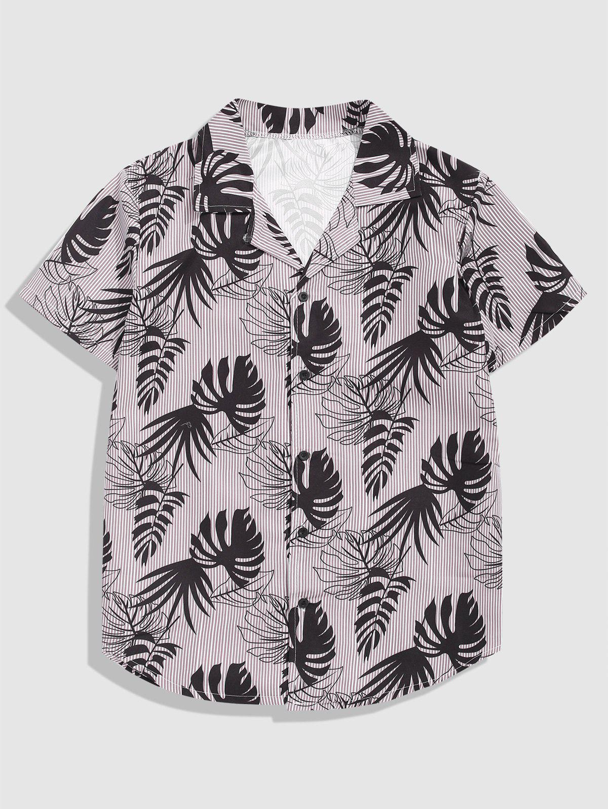Store Button Up Tropical Leaves Stripes Print Shirt