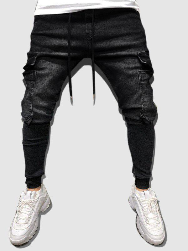 Cheap Multi Pockets Tapered Cargo Jeans