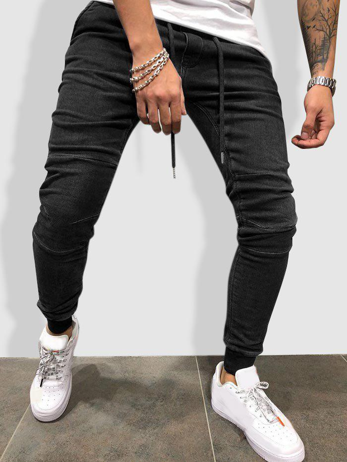 Hot Drawstring Sewing Detail Tapered Jogger Jeans