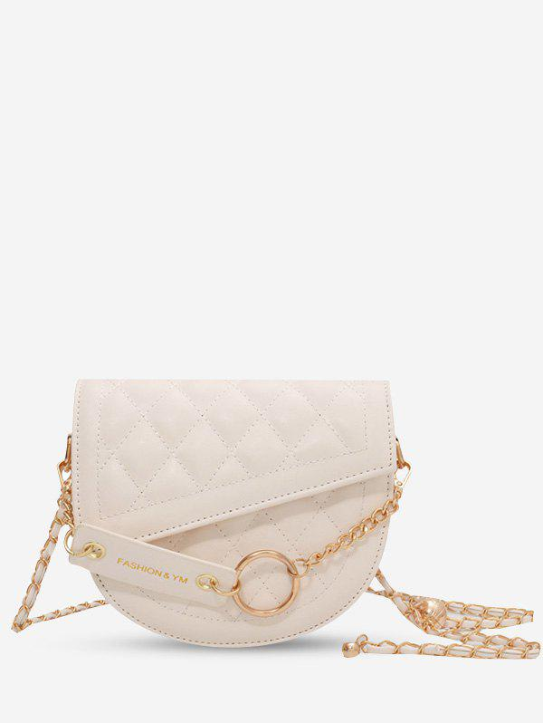 Hot Semicircle Quilted Asymmetrical Cover Chain Crossbody Bag