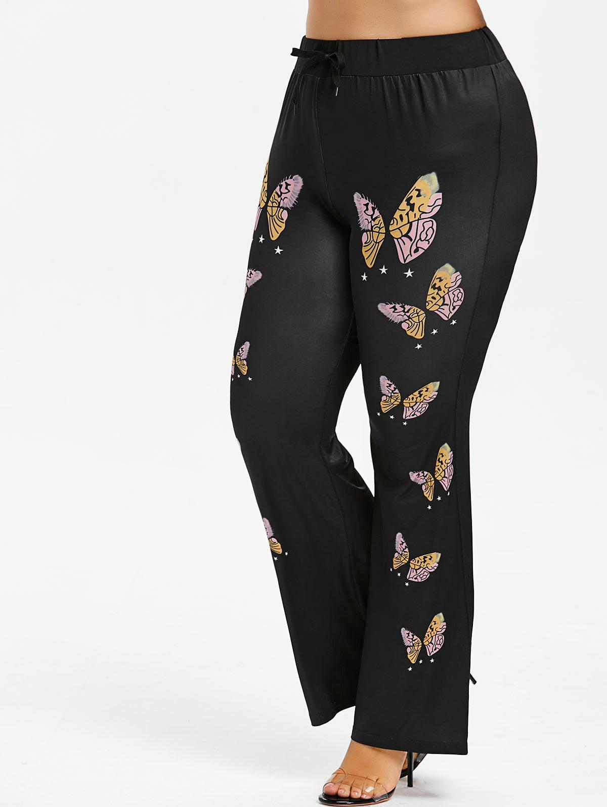 Discount Butterfly Print Plus Size Flare Pants