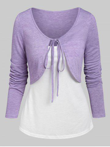 Knotted Heathered Cropped T-shirt and Cami Top - LIGHT PURPLE - XXXL